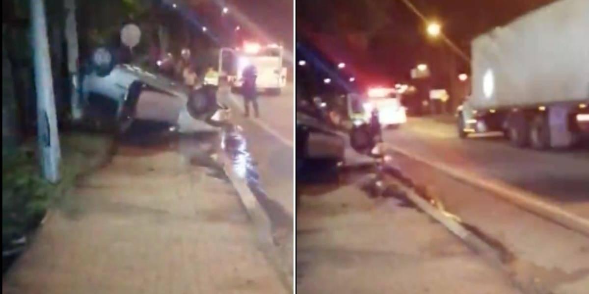 Carro terminó volcado al costado de la vía tras protagonizar grave accidente