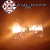 Autobus se incendia en Salcajá, Quetzaltenango.