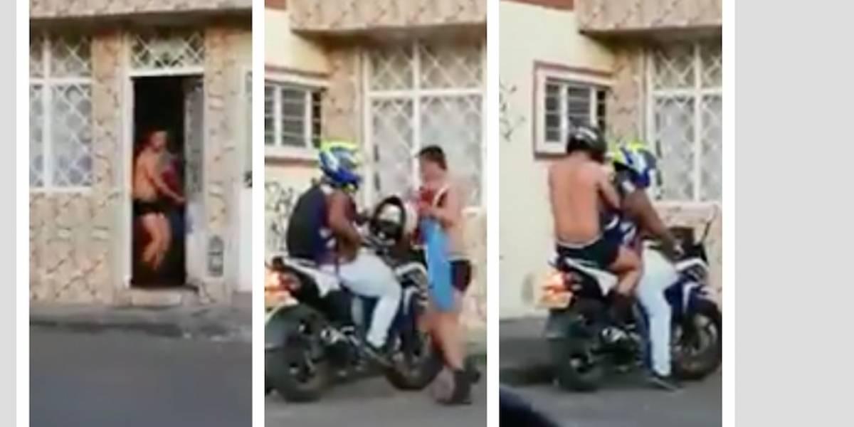 Video de supuesto amante en Bogotá huyendo casi desnudo en moto