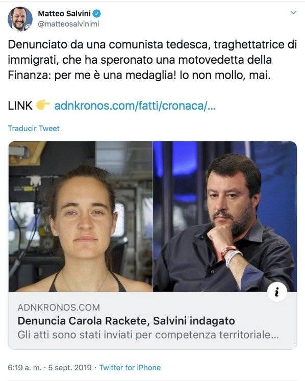 Publicación de Matteo Salvini en redes sociales