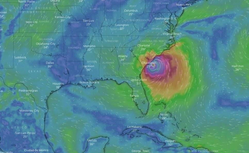 Ubicación del huracán Dorian en Estados Unidos