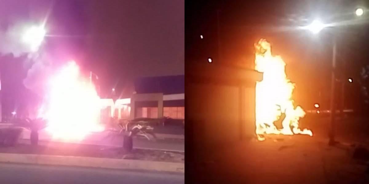 Machala: Vehículo se incendió tras accidente de tránsito en el redondel del Monumento al Bananero