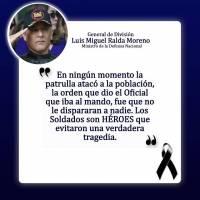 El ministro Luis Miguel Ralda señaló que ningún soldado disparó.