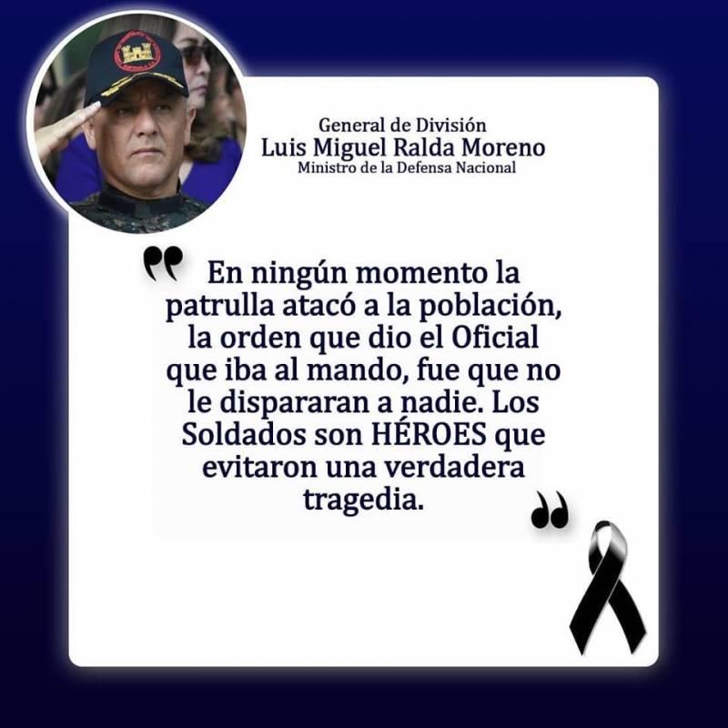 El ministro Luis Miguel Ralda señaló que ningún soldado disparó. Foto: Mindef