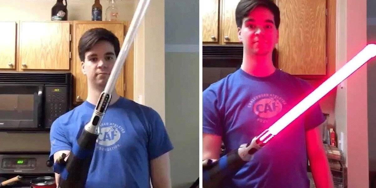 Fan de Star Wars le pone un sable de luz a su brazo biónico y se hace viral