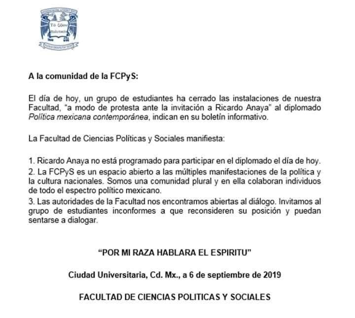 Comunicado desmintiendo la participación de Ricardo Anaya, ex candidato presidencial