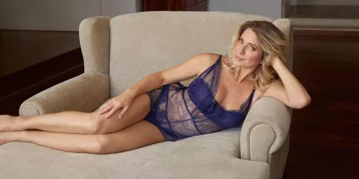 Aos 46 anos, Letícia Spiller posa sem retoques para campanha de lingerie
