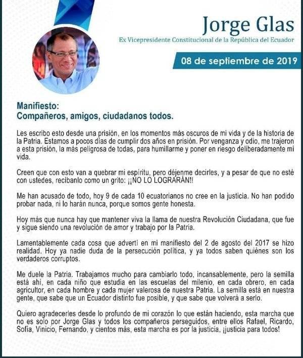 Jorge Glas, comunicado