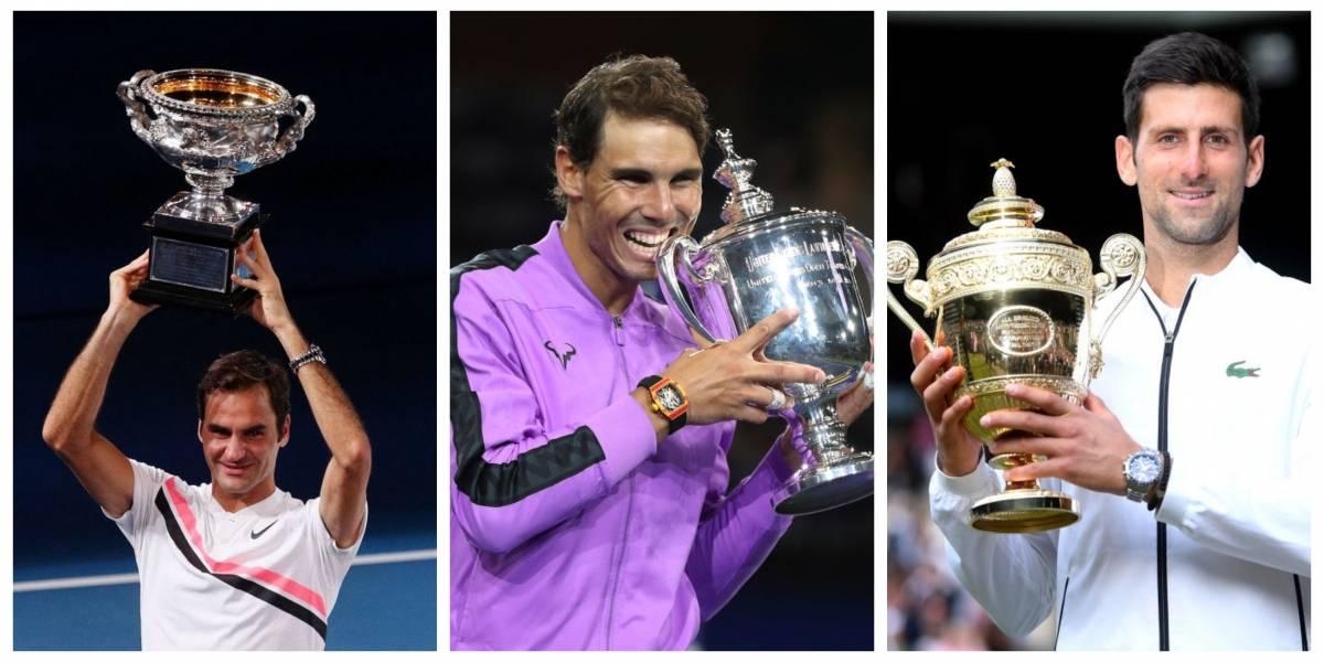 Ganaron 55 de los últimos 66 Grand Slams: Federer, Nadal y Djokovic completan una época irrepetible del tenis
