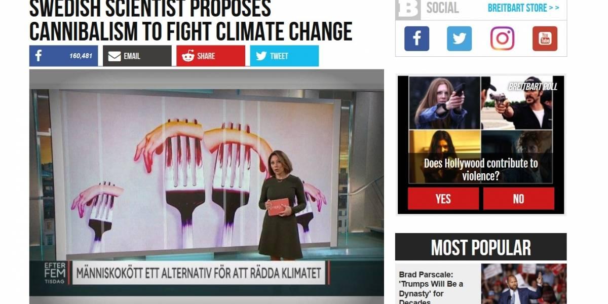 La noticia del científico sueco que propone el canibalismo para combatir el cambio climático es Fake News
