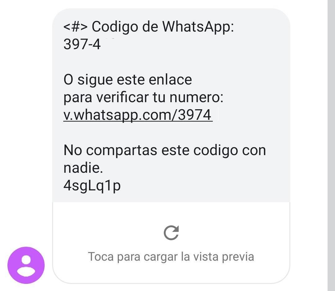 con este mensaje están robando las cuentas de WhatsApp