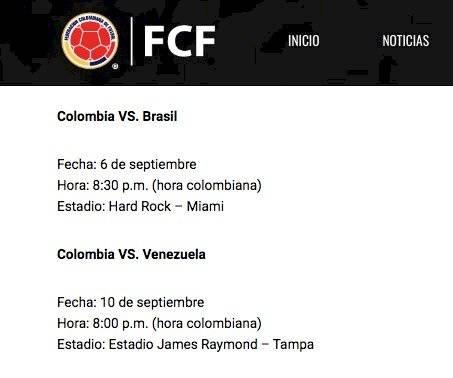 1. Horario Colombia VS Venezuela del martes 10 de septiembre