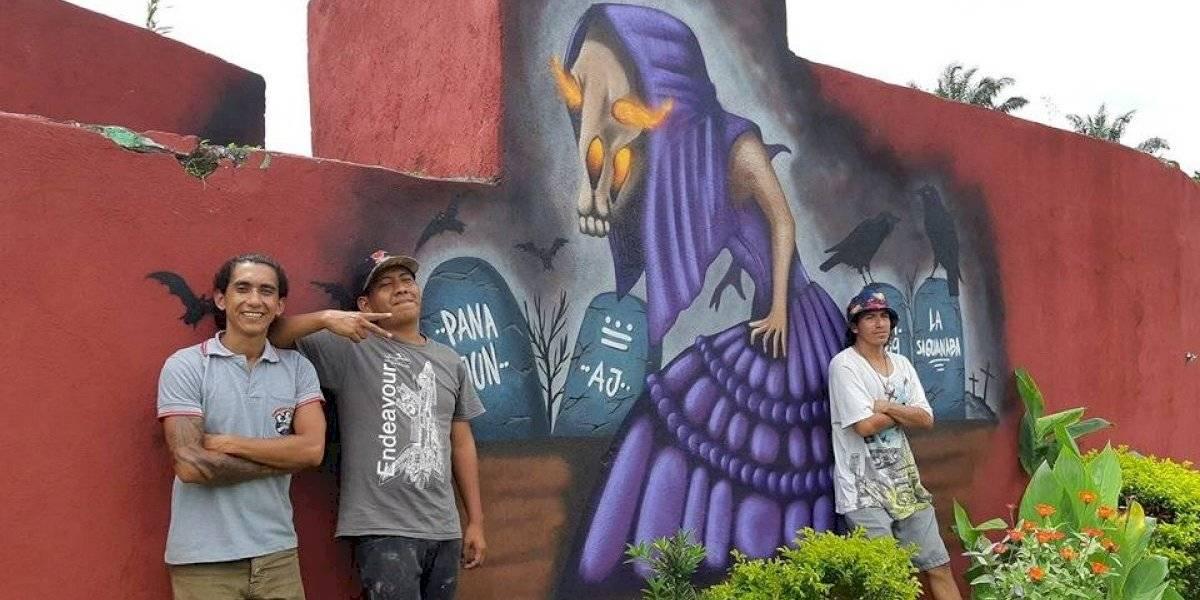 Las leyendas de Guatemala plasmadas en pared de cementerio