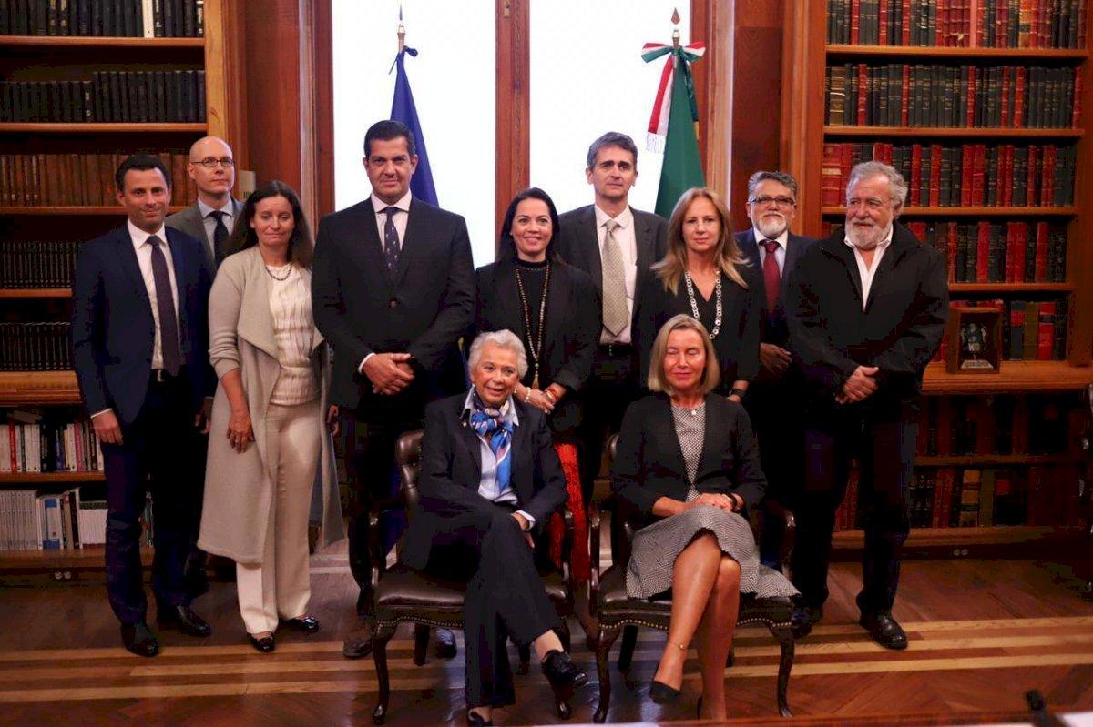Recibe Olga Sánchez Cordero a delegación de la Unión Europa.