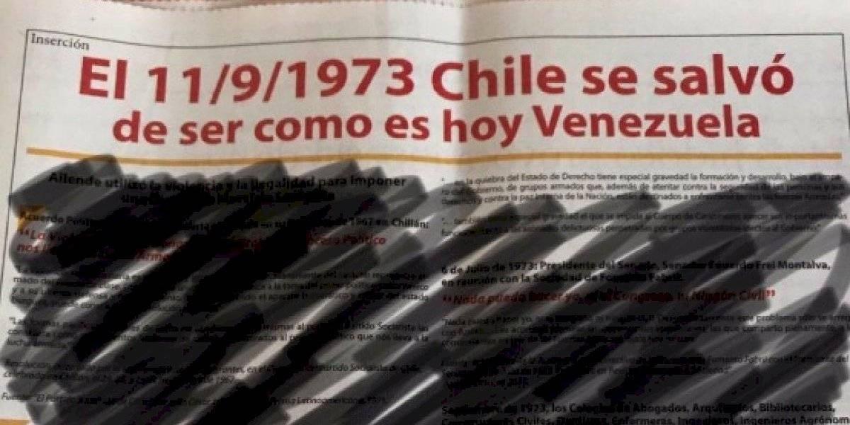 """""""Chile se salvó de ser como es hoy Venezuela"""": dura condena en redes sociales a inserto que reivindica el golpe de Estado"""