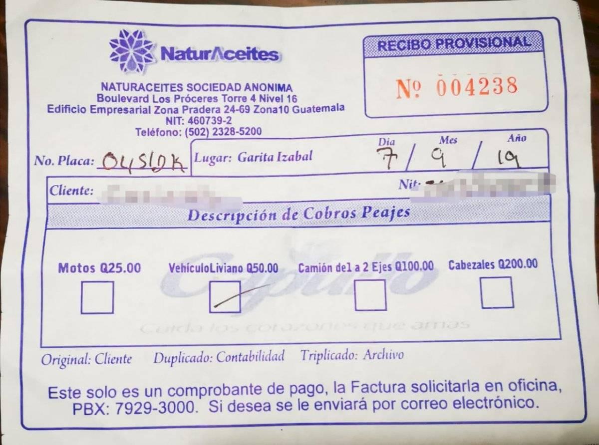 Ticket por cobro de ingreso a la finca donde funciona Naturaceites. Foto: PDH