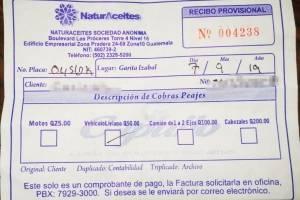 Ticket por cobro de ingreso a la finca donde funciona Naturaceites.