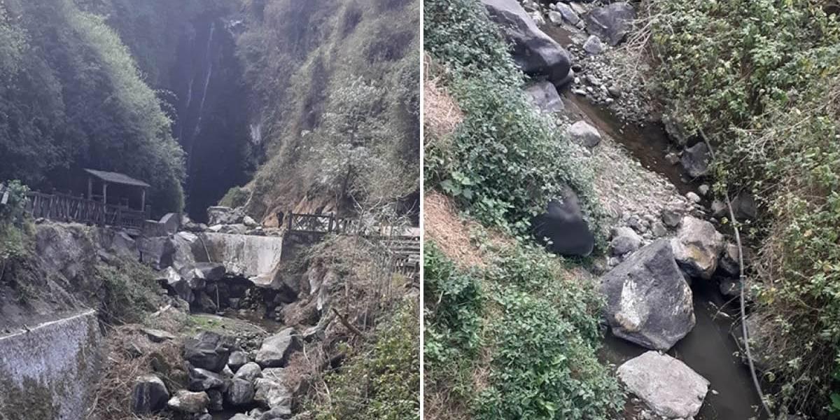¡Impactantes imágenes! Cascada de Peguche se queda sin agua
