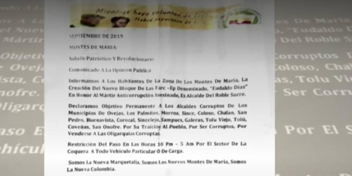 Supuesto panfleto del nuevo bloque de las Farc-EP amenaza de muerte a 16 alcaldes