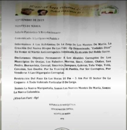 """""""Declaramos objetivo permanente a los alcaldes corruptos de los municipios de Ovejas,"""