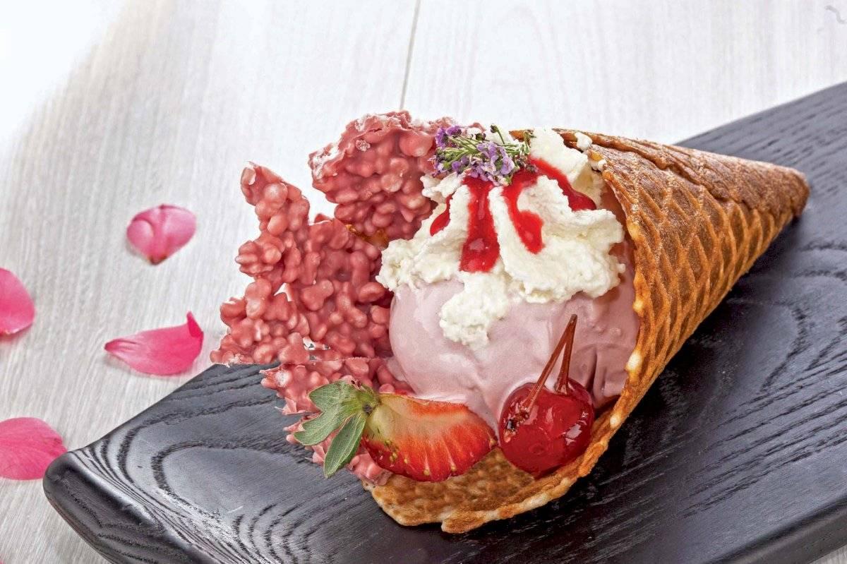 Cascão artesanal de gelato Ruby, na Gelato Boutique