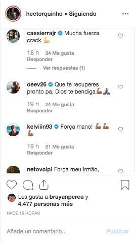 4. Mensajes por lesión de Héctor Quiñones