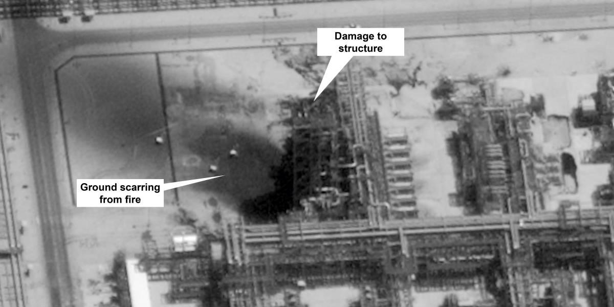 Las pruebas de Trump contra Irán: estas son las imágenes satelitales que EEUU tiene del ataque con drones a refinería saudí