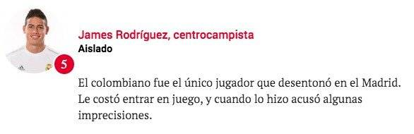 Calificación Sport a James Rodríguez después de Real Madrid VS Levante
