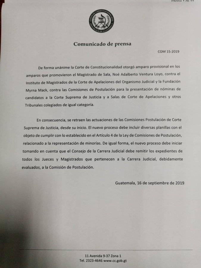Comunicado oficial de la CC con respecto a Postuladoras