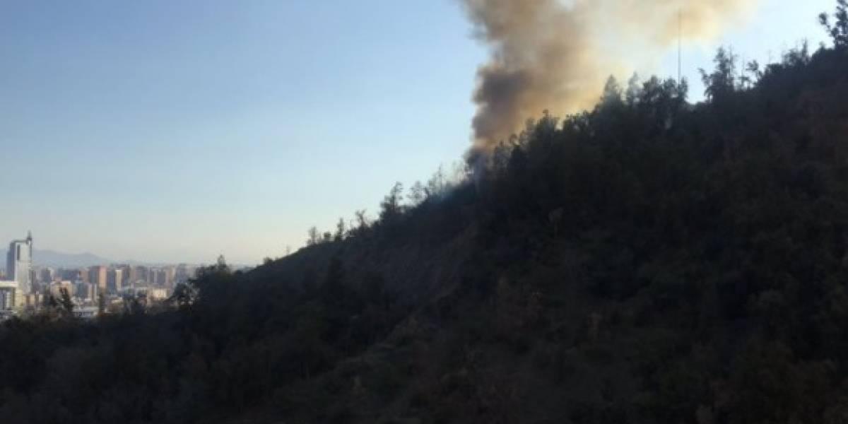 Bomberos combaten incendio en el cerro San Cristobal