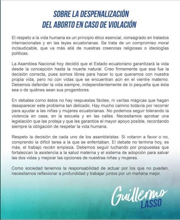 Comunicado de Guillermo Lasso