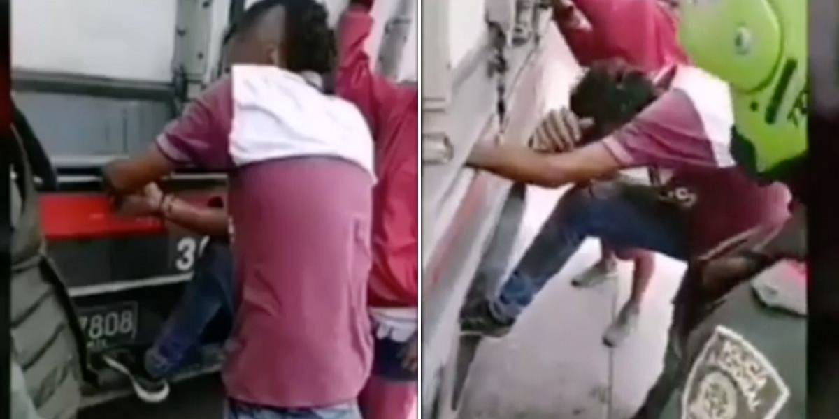 Hombre quedó con una mano aplastada por las compuertas de un camión cuando se colgó del vehículo