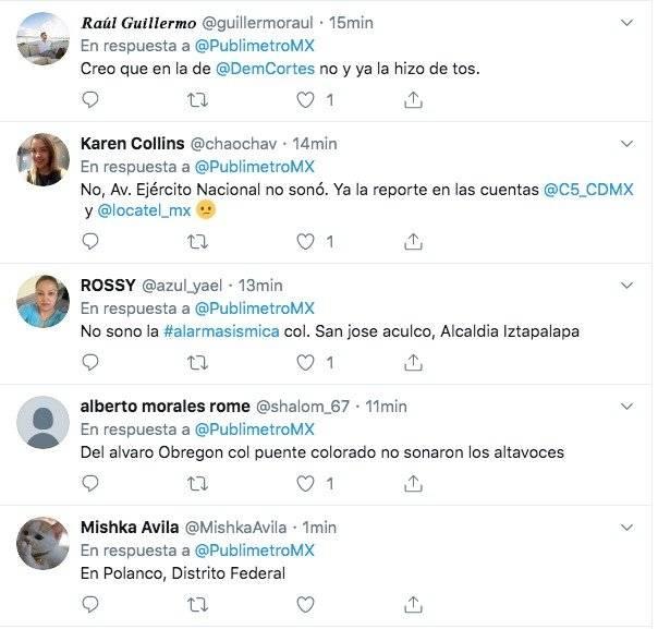 Comentarios en redes sociales sobre la alerta sísmica