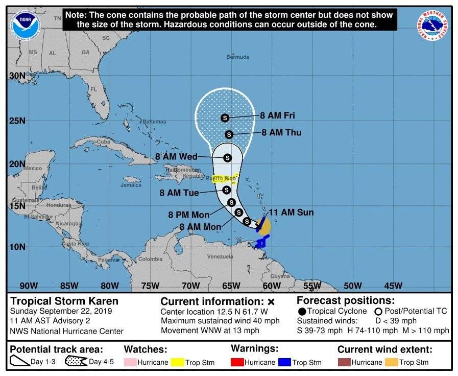 Tormenta tropical Karen - 22 septiembre - 11am