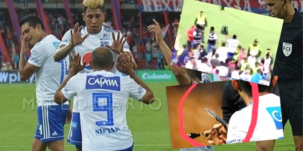 Lanzan un cuchillo desde la tribuna contra un jugador de Millonarios