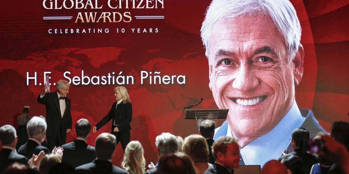 """Piñera recibe premio por su """"labor"""" en al cambio climático y promete avanzar en una economía circular: """"Es la batalla de nuestra vida"""""""