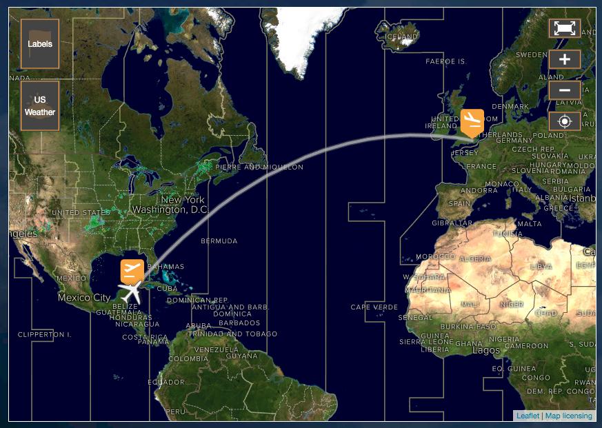 La ruta Cancún Londres de Thomas Cook.