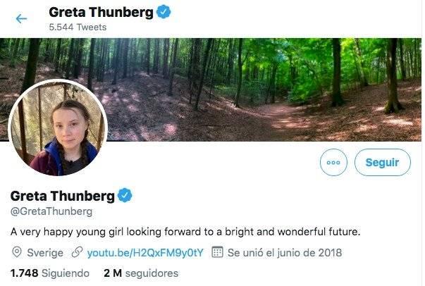 Perfil de Greta Thunberg en Twitter