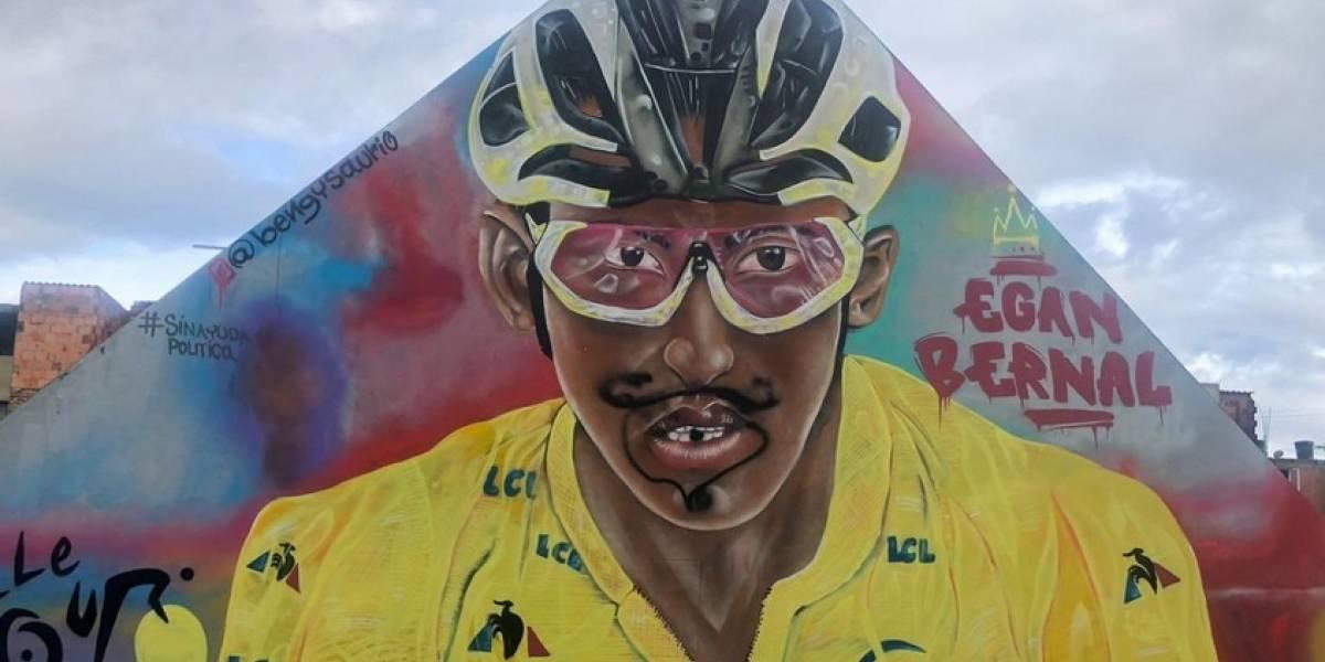 Vándalos dañan el mural de Egan Bernal en Zipaquirá