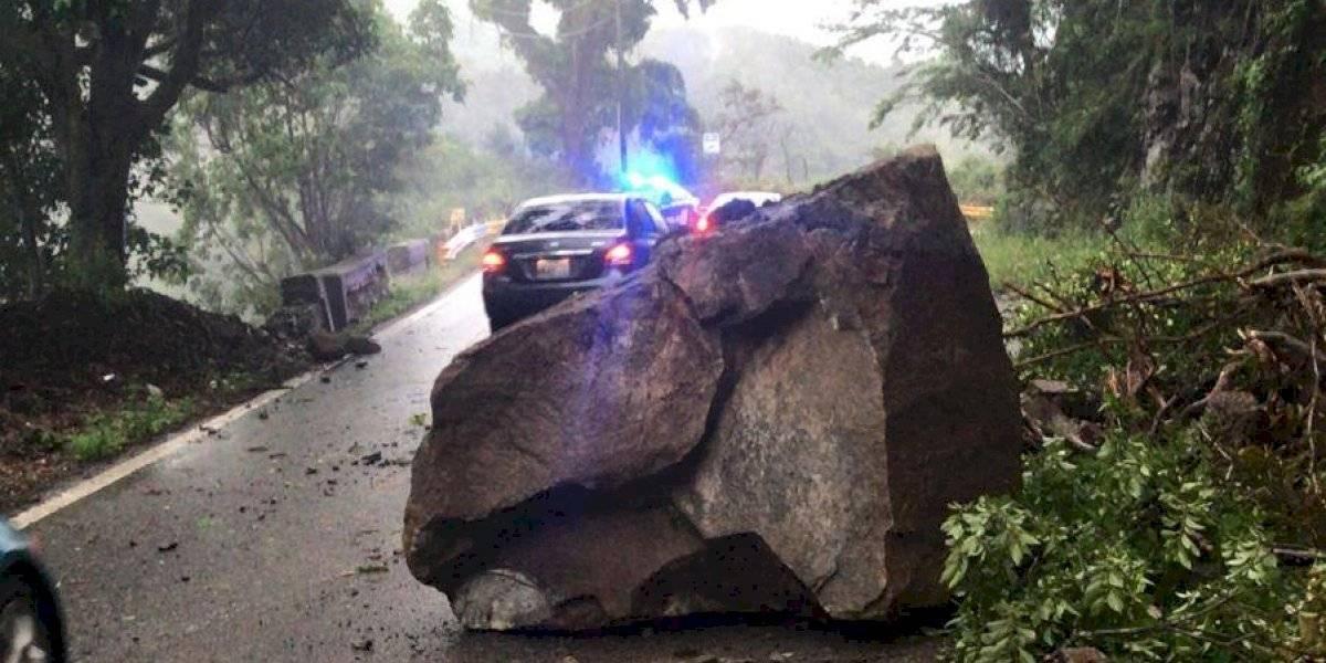 Cierran carretera en Aibonito por derrumbe