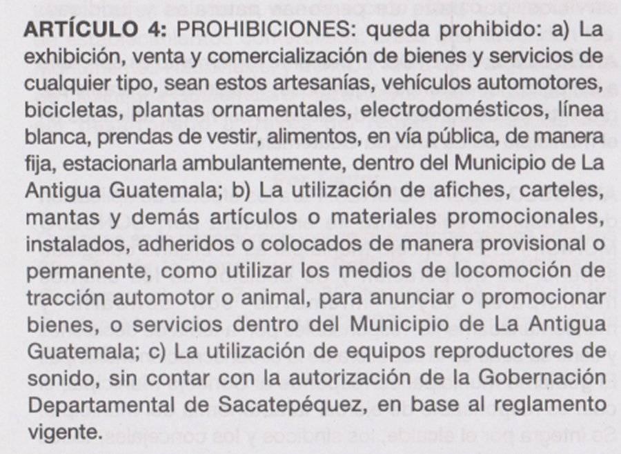 Reglamento que prohíbe el uso de la vía pública para la exhibición, alquiler, venta y comercialización en La Antigua Guatemala.