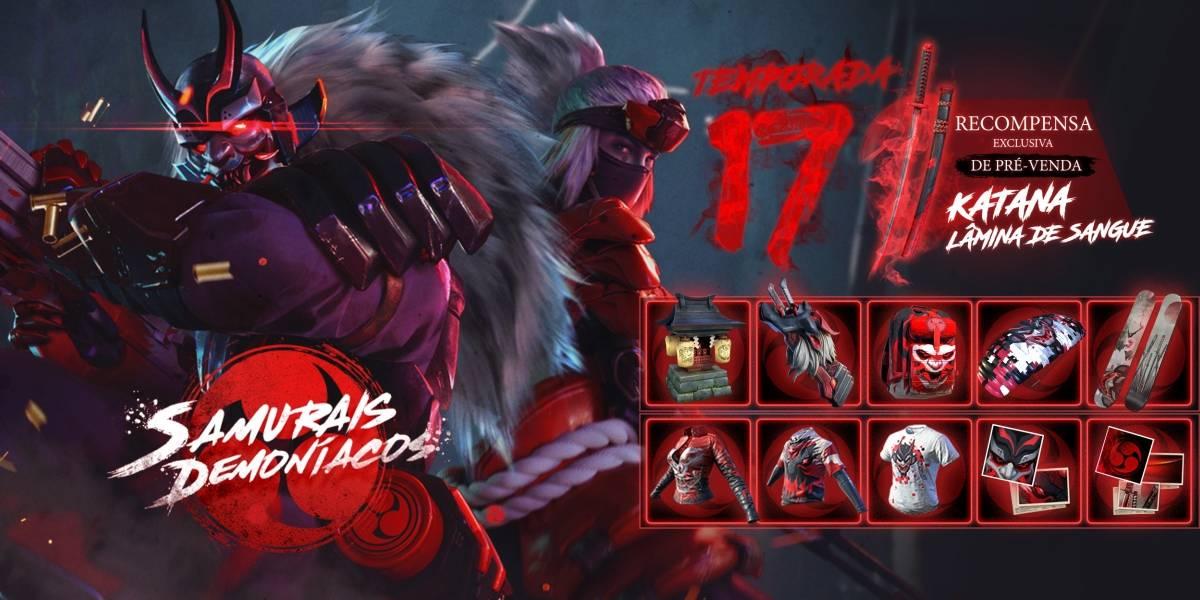 Free Fire: novo passe de elite 'Samurais Demoníacos' já está disponível