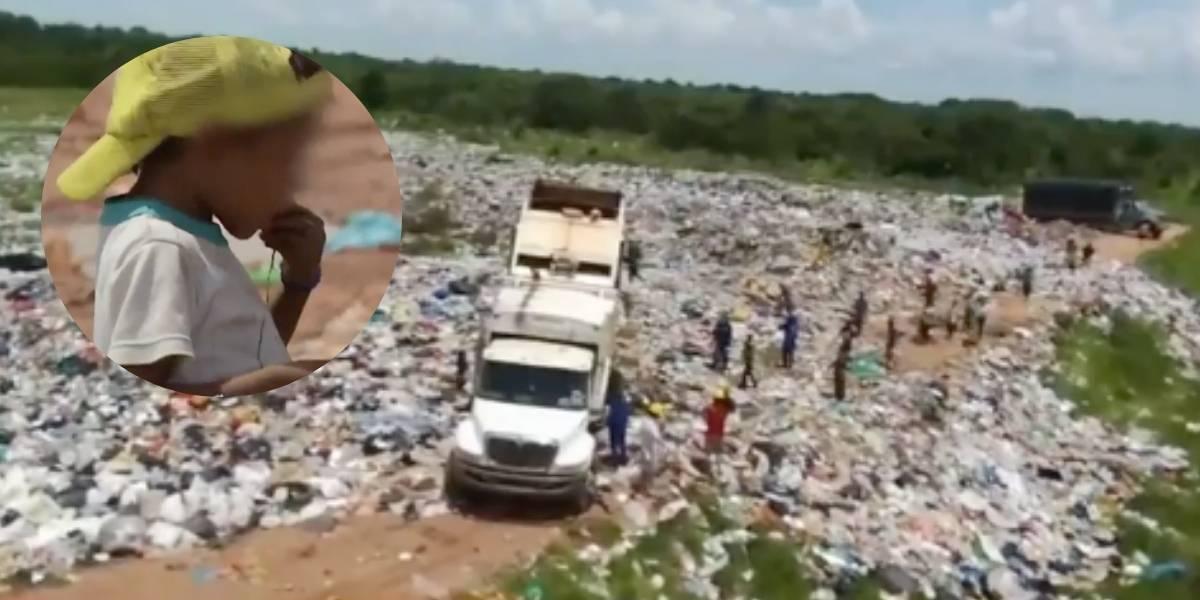 ¡Desgarradoras imágenes! Niños indígenas se ven obligados a comer basura