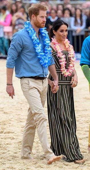 Meghan Markle y Harry en su visita la playa de Bondi, en de octubre de 2018 en Sydney, Australia. Getty Images