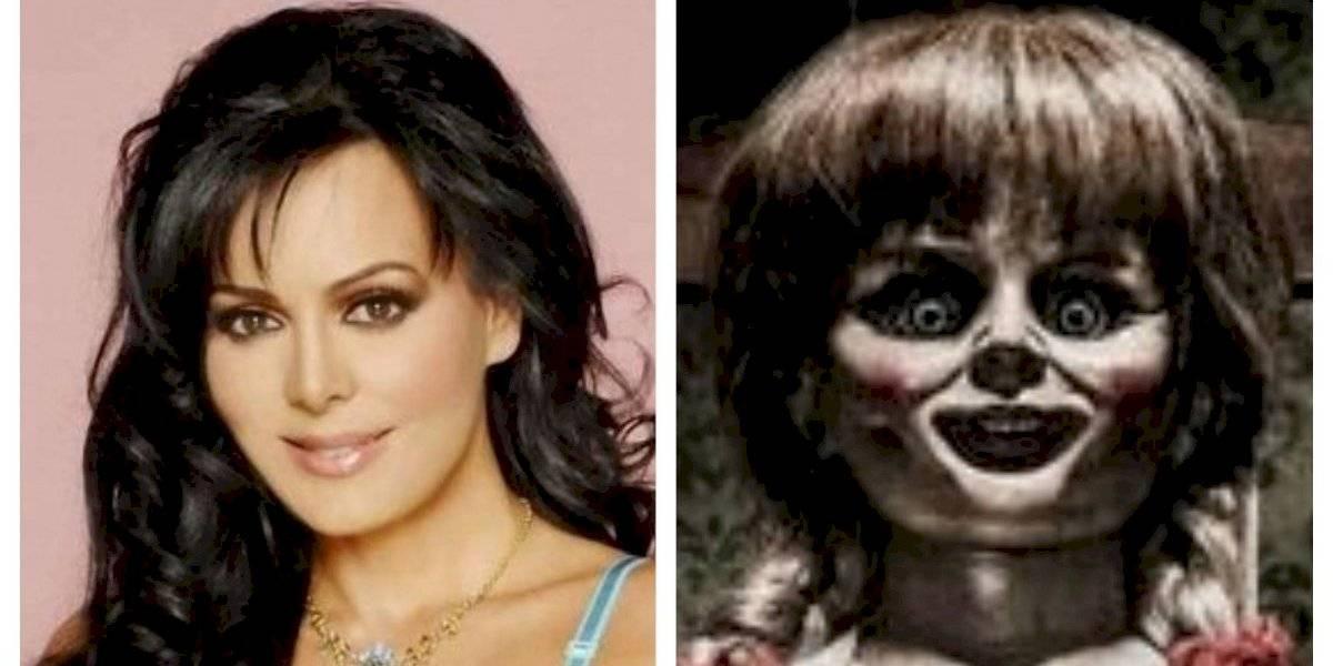 Terrible maquillaje y rostro de Maribel Guardia provoca que la comparen con Annabelle
