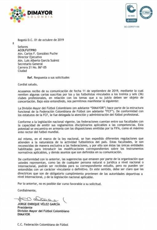 Carta Dimayor a Acolfutpro