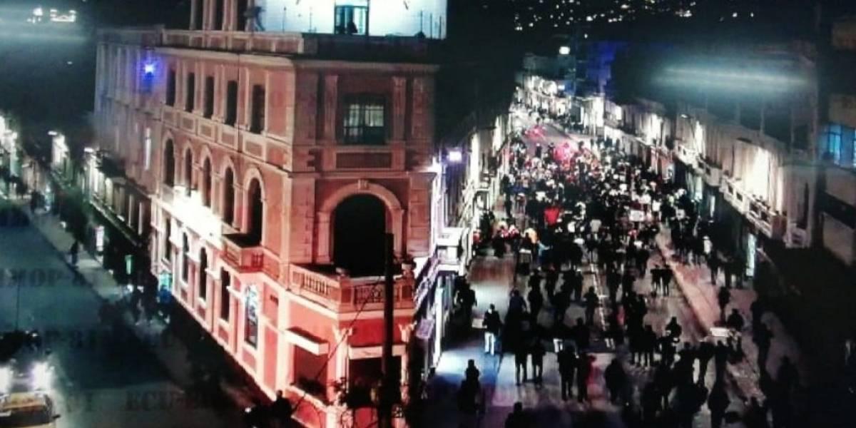 Reportan concentración en el Centro Histórico de Quito en rechazo a las medidas económicas del Gobierno