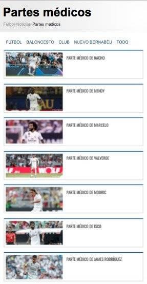 Partes médicos Real Madrid septiembre y octubre de 2019
