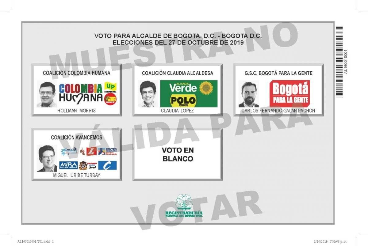 Tarjetón elecciones 2019