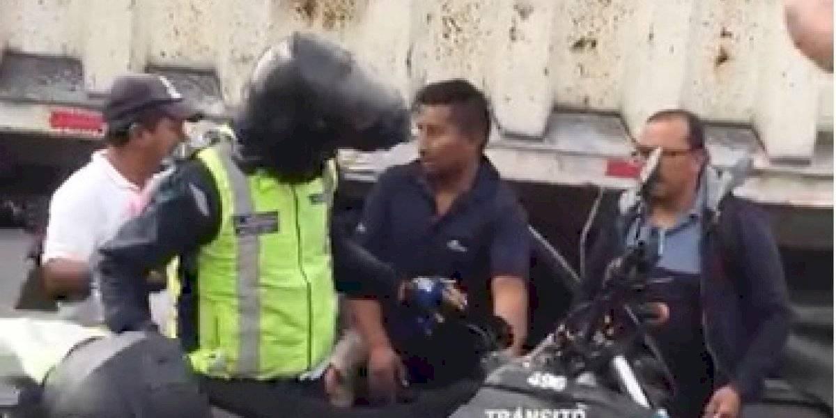 Paro de transporte: Manifestantes agredieron a agente de la AMT en Carapungo